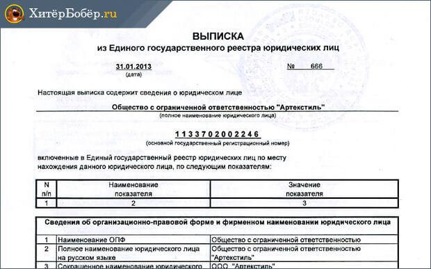 Образец заявления на получение выписки из ЕГРЮЛ и другое