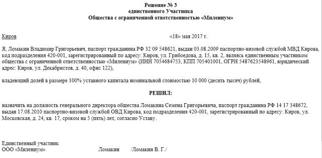 Решение о назначении генерального директора ООО: образец документа и другие нюансы