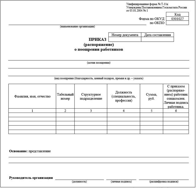 Правила оформления приказа о поощрении работника, образец унифицированного бланка