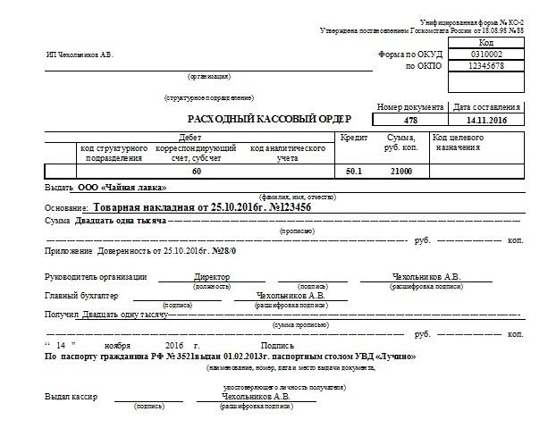 Пример заполнения расходного кассового ордера и инструкция